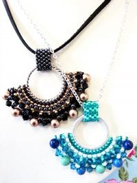Fan Pendant Beadwork Necklace Jewellery Making Kit with SWAROVSKI® ELEMENTS Black Bronze & Gunmetal